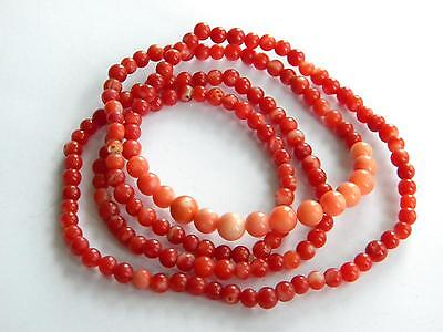 vintage string of CORAL beads RED and PINK ~ 20g ~