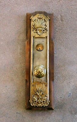 Mounted Antique DOOR KNOB & BACK PLATE w/Cylinder Lock BRASS 16.5""
