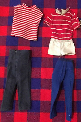 Vintage Mixed Lot of Ken Sized Clothes Pants Bathing Suit Shirts Red Blue