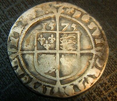 Tudor Period 1575 Elizabeth 1St Silver Sixpence Rose Beside Bust.