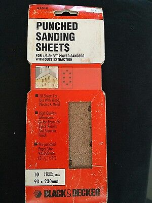 Black and Decker A1818 NEW Pack of 10 Punched Sanding Sheets 93 x 230mm