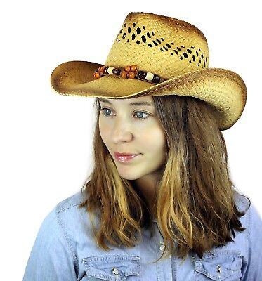 Cowgirl Cowboy Unisex Straw Tea-Stained Beaded Western Summer Beach Hat