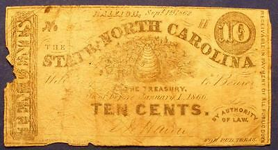 1862 The State Of North Carolina Raleigh, N.C. 10 Cent Fractional Note No 32!!