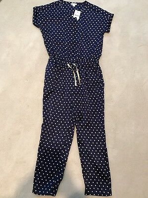 J Crew Crewcuts Girls Polka Dot Jumpsuit Navy White Size 10 NWT