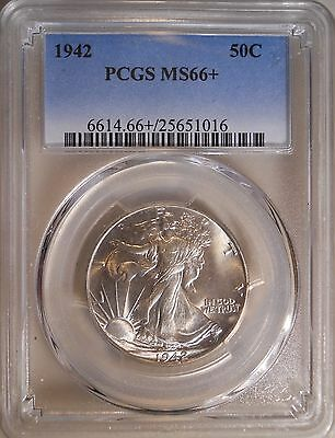 1942 PCGS MS66 + Plus Walking Liberty Half Dollar 90% Silver 50 Cent Coin 111