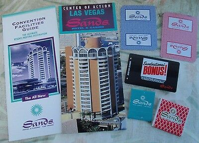 SANDS Casino LAS VEGAS Hotel - LOT of 7 - BROCHURES, Matchbooks, Players Cards+