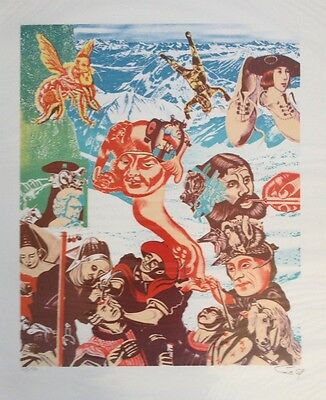 GUDMUNDUR ERRO b1932 Pop Art Limited Ed LITHOGRAPH 1969 48/100 Paolozzi interest
