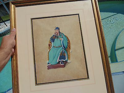 Asian Antique Chinese Watercolor Painting Pith Paper Emperor Chief Court Figures