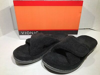 VIONIC Indulge Relax Womens Size 8 Black Slippers House Shoes ZH-1070