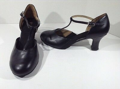 BLOCH Womens size 10 Black T-Strap Split Flex Character Dance Heels Shoes Z9-969