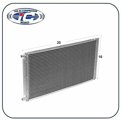 """A/C AC Universal Condenser 16"""" X 20"""" Parallel High Flow O-ring #6 & #8"""