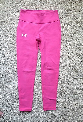 Under Armour Pink/white Fitted Heat Gear Girls Leggings Sz Youth Medium