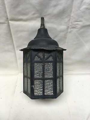 Vtg Arts Crafts Brass Porch Sconce Old Cabin Light Fixture Arch Glass 320-17E