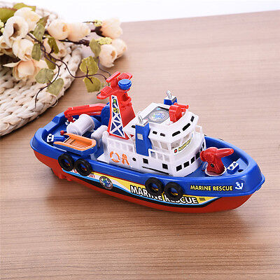 Electric Boat Toys Pool Bath Water Spraying Marine Firefighting Ships Kid's Gift