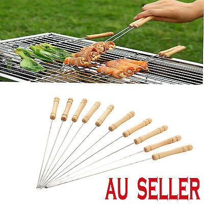 10 x 30cm Outdoor Picnic BBQ Barbecue Skewer Roast Stick Stainless Steel Needle