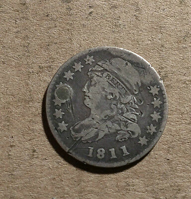 1811 Bust Dime Cull filler hole damaged holed plugged Full Date Fair Poor F-VF