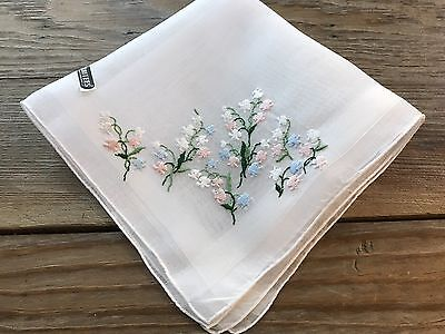 A+ Vintage UNUSED Swiss Embroidered White Cotton Hankie Lily of the Valley WT