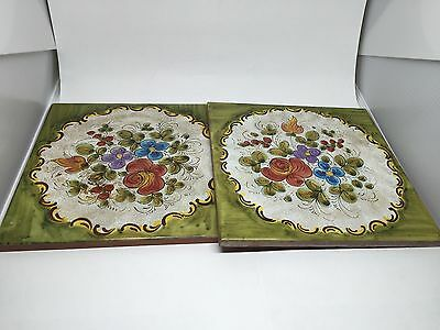 Vintage Hand Painted Floral TerraCotta Tiles Set of Two (2)