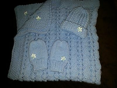 hand-knitted beautiful baby blanket +hat+mittens(blue)