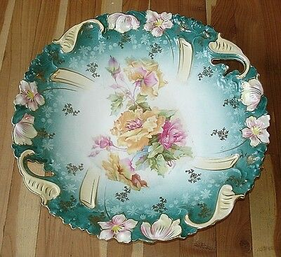 Beautiful Vintage Antique Hand Painted Glass China Plate Roses Gold Leaf Unmark