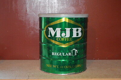 MJB 3 lb Coffee Can Vintage Tin with Lid Excellent Shape