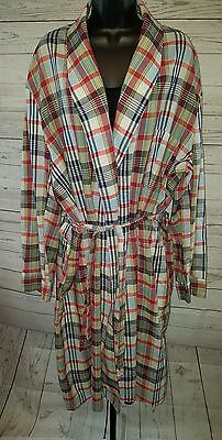 VINTAGE SEARS Blue & Red PLAID LIGHTWEIGHT ROBE SZ XL 46/48 MEN'S #1790
