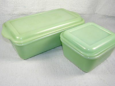 TWO Vintage Fire King Jadeite PHILBE Covered Refrigerator Jars - Short & Long