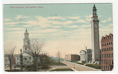 Court House Square Springfield Massachusetts 1912 postcard