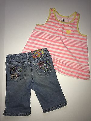Girls Jeans Denim Shorts Bermuda Shirt Tank Top Outfit Set Size 6X EUC Carter's