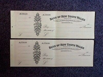 2 Vintage Bank Of New South Wales - Goondiwindi. Q. - Cheques