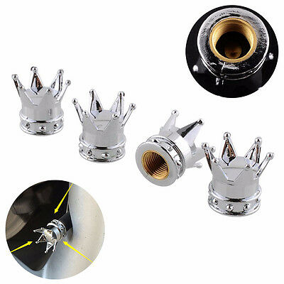 4x Universal Chrome Crown Style Car Tire Air Valve Stems Cover Caps Wheel Rims