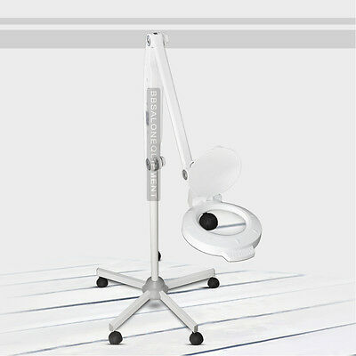 5X Lighted Magnifying Lamp Rolling Floor Stand Adjustable LED Facial Skin Salon