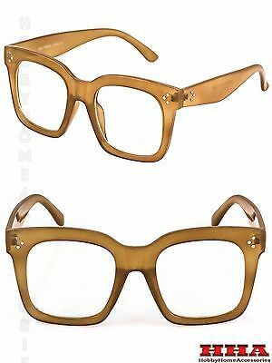 OVERSIZE VINTAGE RETRO NERD Style Clear Lens EYE GLASSES Thick Large Beige Frame