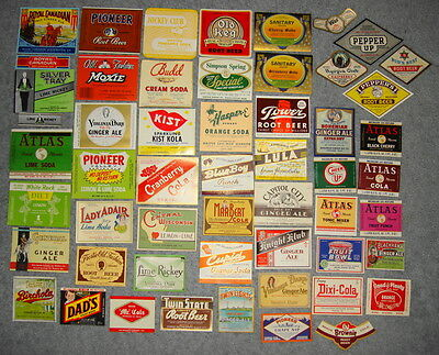 Lot of 52 DIfferent Vintage Soda Bottle Labels