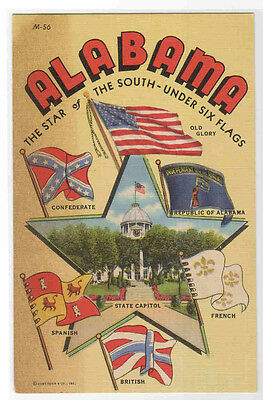 Alabama Star of The South Six Flags Large Letter postcard