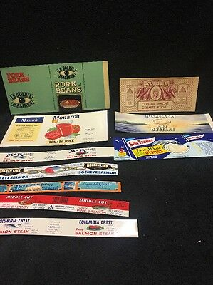 10 Original Vintage Juice Vegetable Pork SeaFood Labels Colorful Estate Lot
