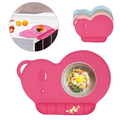 Silicone Fun Placemat Plate Kids Child Self Suction Tray Baby Folding Placemat