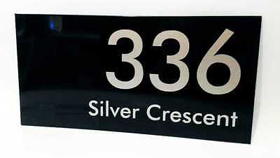Silver on Black House Number Signs / 300mm x 150mm