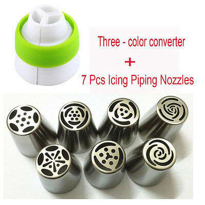 7pcs Russian Flower Icing Piping Nozzles Cake Decor Tips Baking Tools +converter