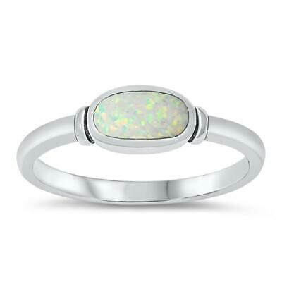 White Lab Opal Oval Cute Ring New .925 Sterling Silver Band Sizes 4-10