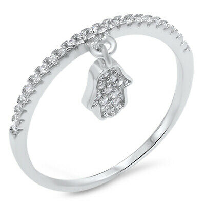 Dangling Heart Hanging Clear CZ Cluster Ring 925 Sterling Silver Band Sizes 4-10