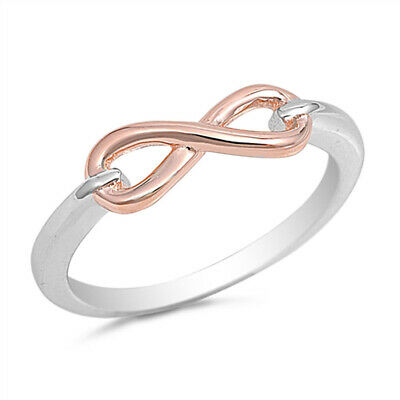Rose Gold-Tone Infinity Knot Ring New .925 Sterling Silver Band Sizes 4-10