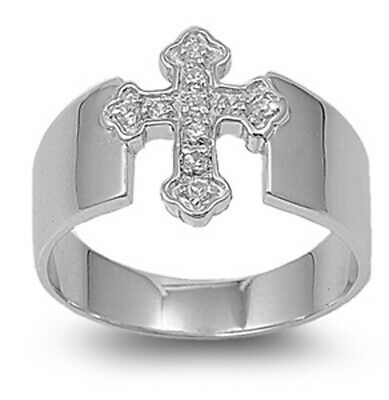 Sterling Silver Womans Mens Cross Clear CZ Ring Beautiful Band 15mm Sizes 5-13