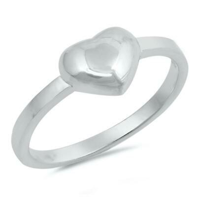 Sterling Silver Woman's Plain Cute Heart Ring Promise 925 Band 7mm Sizes 2-13
