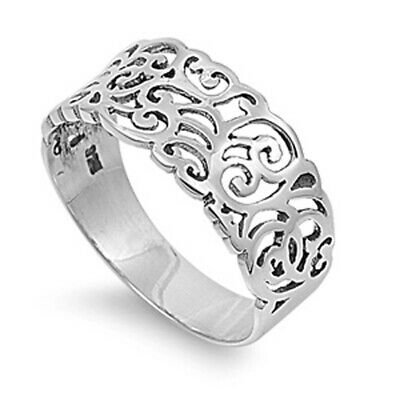 Sterling Silver Woman's Unique Fashion Ring Beautiful 925 Band 9mm Sizes 3-14