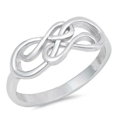 Criss Cross Infinity Knot Promise Ring New .925 Sterling Silver Band Sizes 4-10