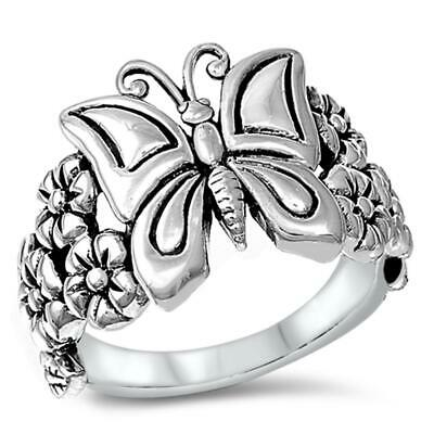 Sterling Silver Womans Butterfly Flower Ring Beautiful 925 Band 16mm Sizes 4-12