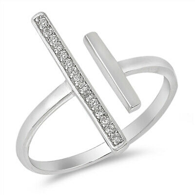 White CZ Micro Pave Bar Open Statement Ring .925 Sterling Silver Band Sizes 5-10