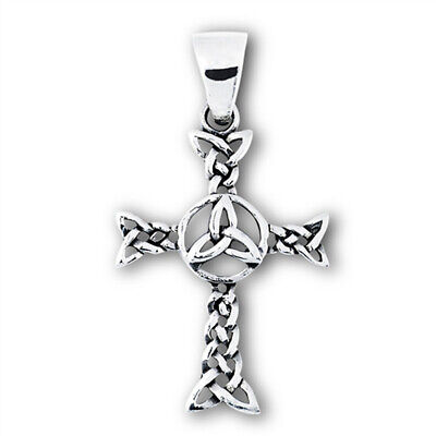 Celtic Cross Pendant .925 Sterling Silver Braided Intricate Triquetra Charm