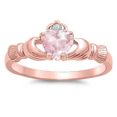 Pink CZ Rose Gold-Tone Heart Claddagh Ring .925 Sterling Silver Band Sizes 4-12